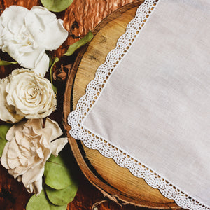 Small Scallop Cluny Lace Wedding Handkerchief