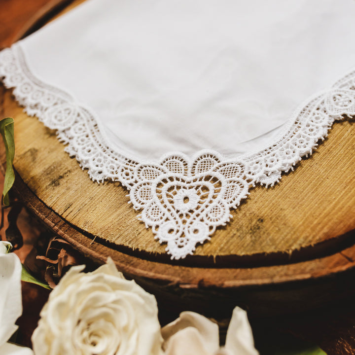Claddagh Cluny Lace Wedding Handkerchief