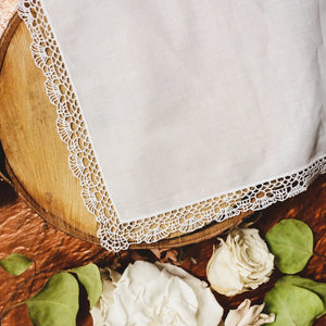 Shell Cluny Lace Bridal Handkerchief