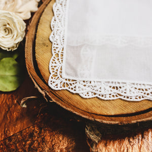 English Garden Lace Wedding Handkerchief