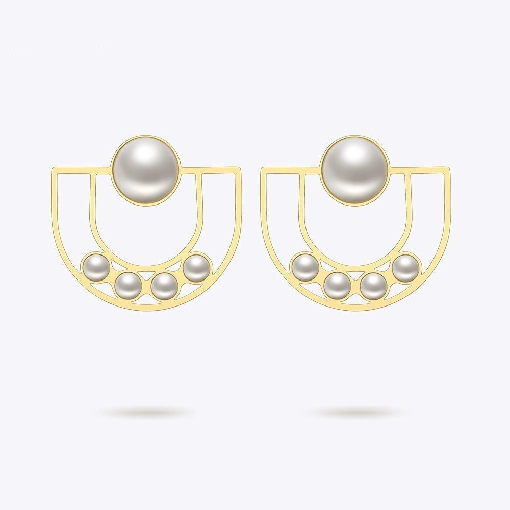U Pearl Gold Earrings - Gilly and Bae