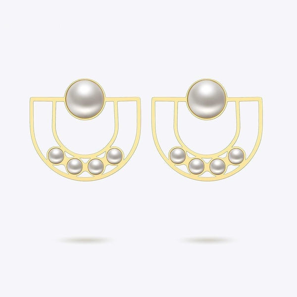 U Pearl Gold Earrings , jewellery- Gilly and Bae