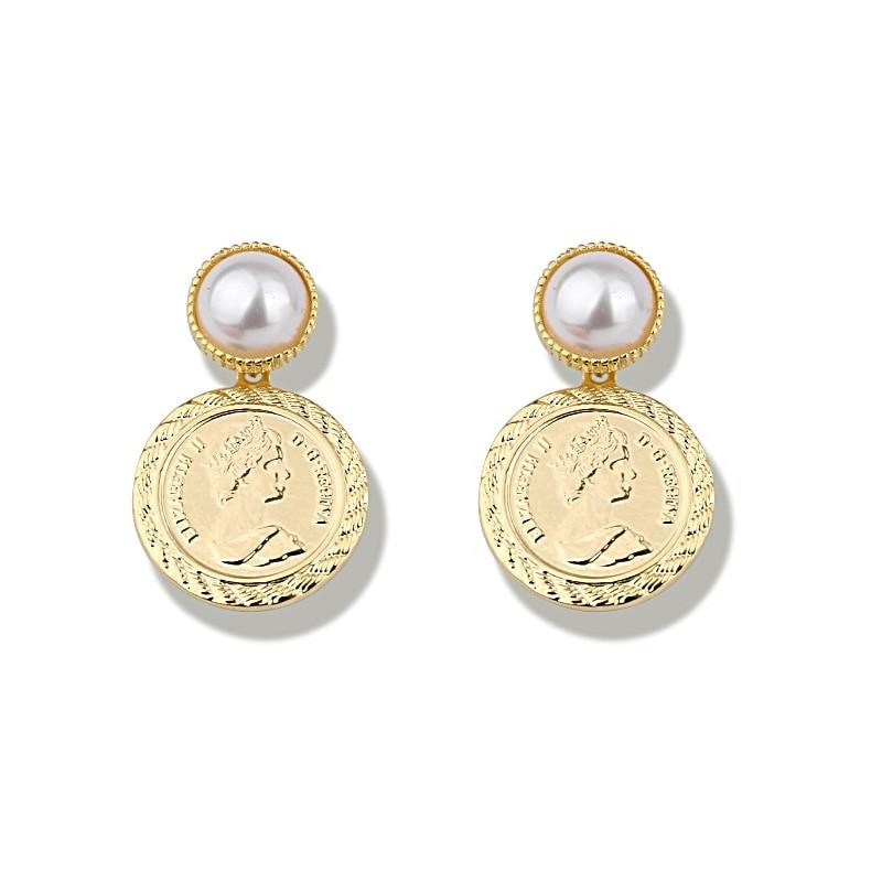 Drop Coin Earrings , earrings- Gilly and Bae