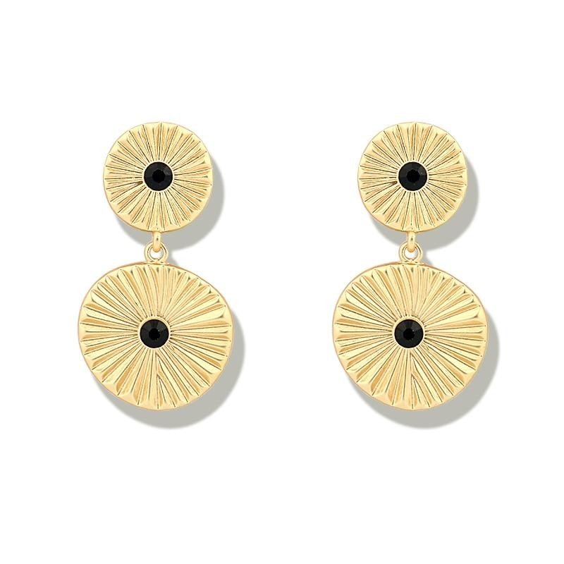 Gold Color Double Coin Disc Stud Earrings , earrings- Gilly and Bae