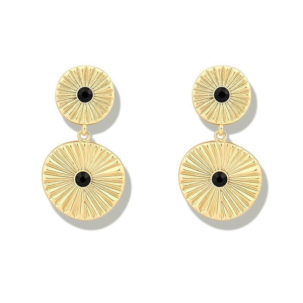 Gold Color Double Coin Disc Stud Earrings - Gilly and Bae