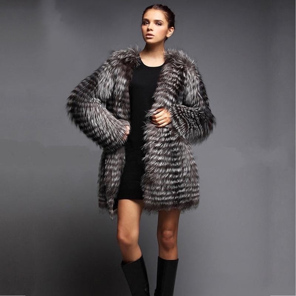 Warm, Fuzzy & Edgy Natural Silver Fox Fur Jacket , Jacket- Gilly and Bae