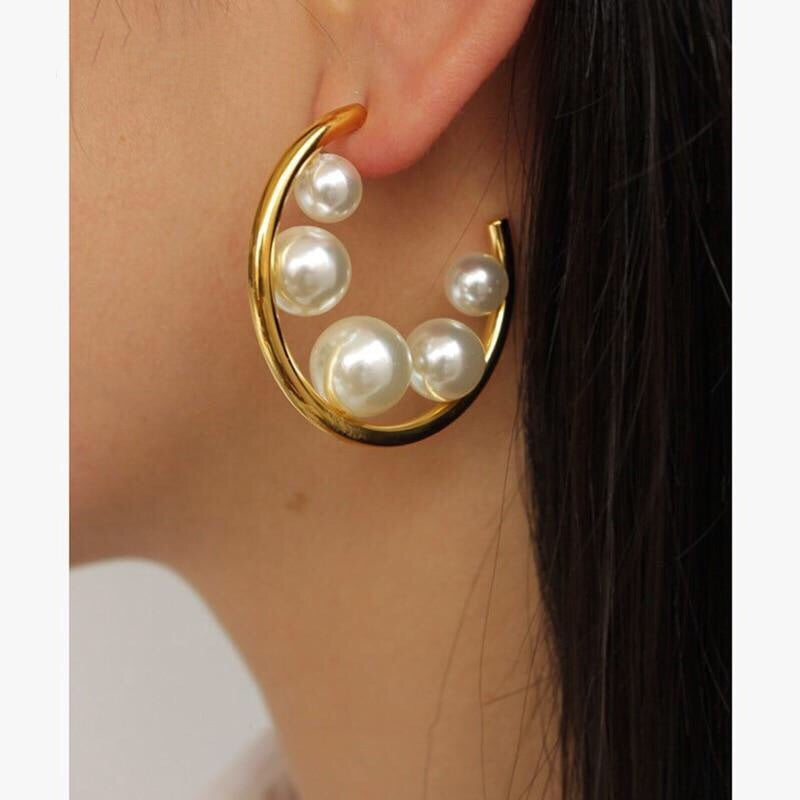 Gold Big Open Circle Hoop Pearl Earrings , earrings- Gilly and Bae