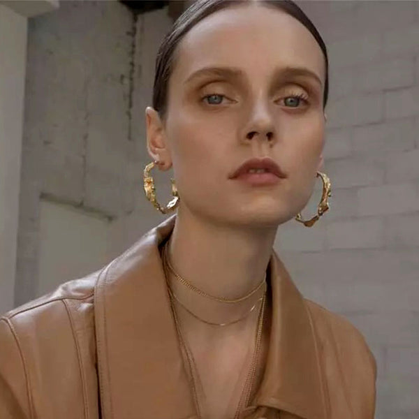 Gold Color Abstract Hoop Statement Earrings , earrings- Gilly and Bae