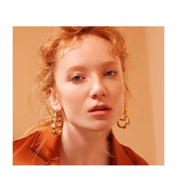 Multilayer Circle Links Drop Earrings , jewellery- Gilly and Bae