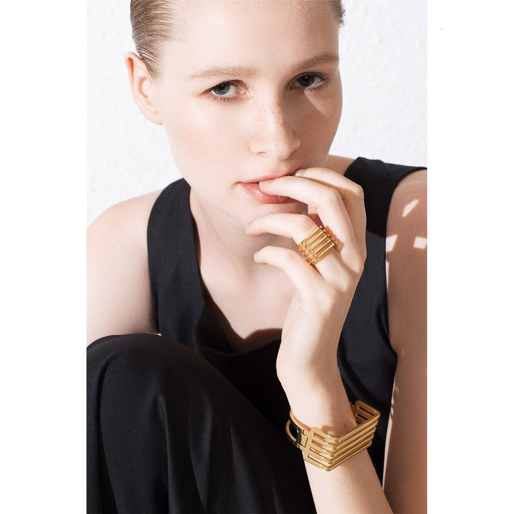 Punk 5 Rows Layered Ring Gold Color , jewellery- Gilly and Bae