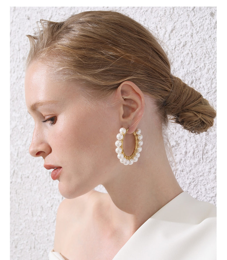 Pearl Big Circle Hoops Earrings , jewellery- Gilly and Bae