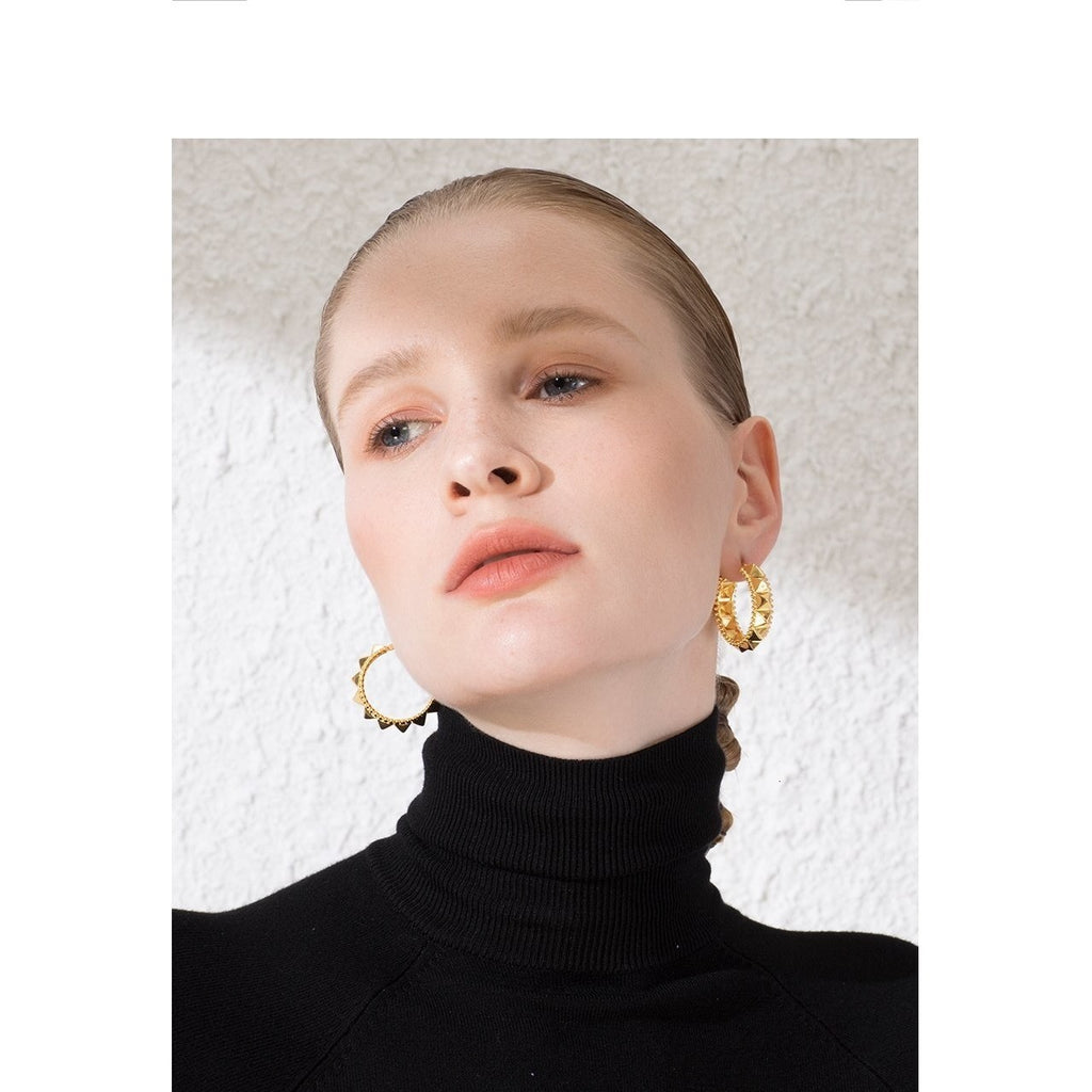 Punk Pyramid Hoop Earrings - Gilly and Bae