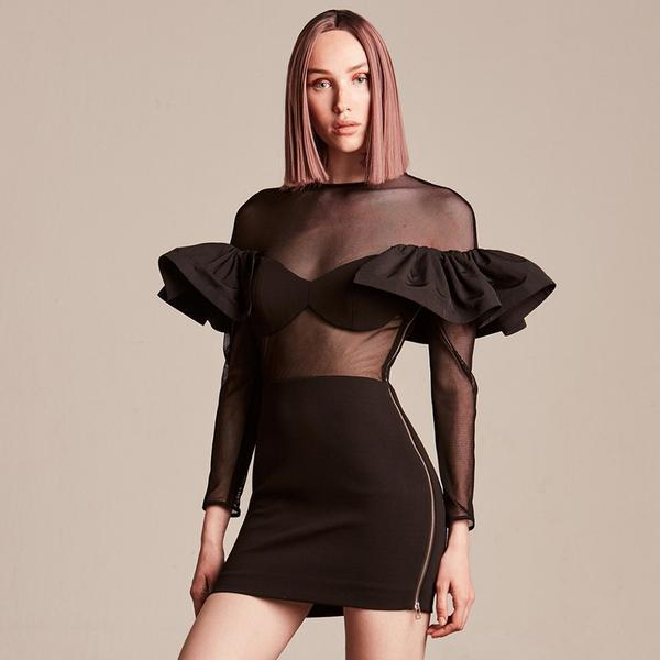 Meeting the Standard Mesh Ruffle Dress , dress- Gilly and Bae