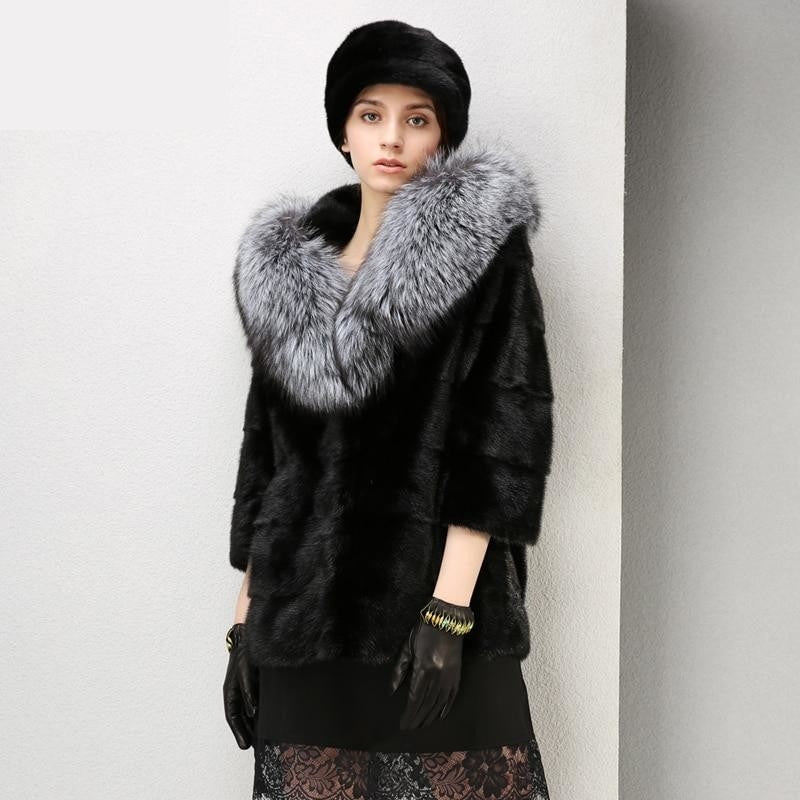 Fit And Styled To Perfection Real Fur Jacket with Fur Collar , Jacket- Gilly and Bae
