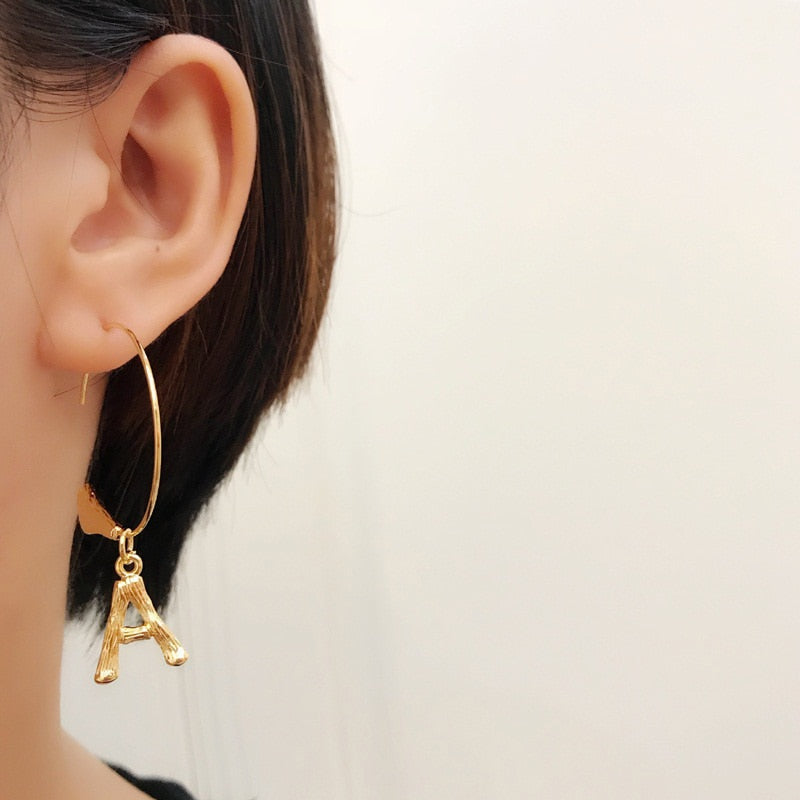 Geometric Initial Small Letter Hoops Earrings -A Z , earrings- Gilly and Bae
