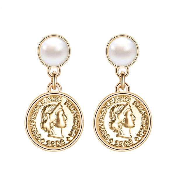 Portrait Disc Dangle Earrings - Gilly and Bae
