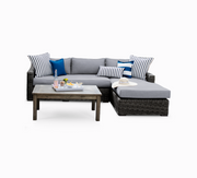 Villa 2-Piece Chaise Sofa, All-Weather Wicker with Sunbrella Cushions