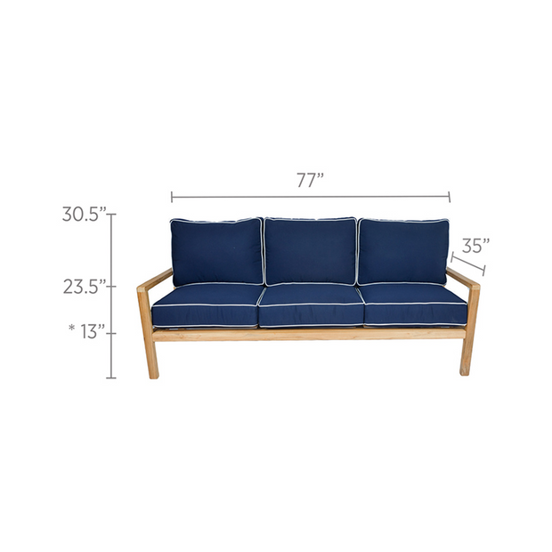Coastal Teak 3 Seater Sofa