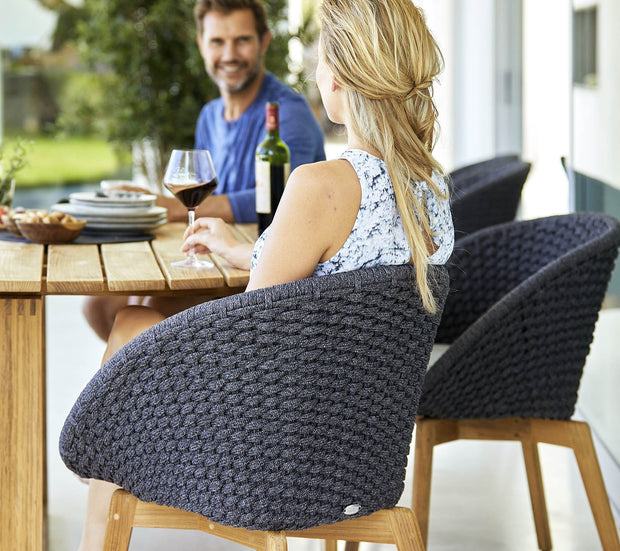 Peacock Teak Chair in Cane-line Soft Rope with Sunbrella© Cushion