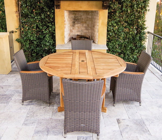 5 Piece Teak Round Dining Set with Wicker Armchair