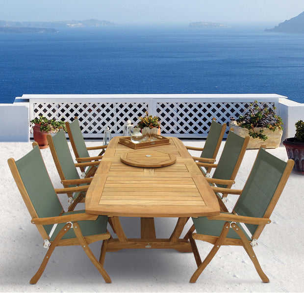 7 Piece Teak Dining Set with Folding Dining Armchair