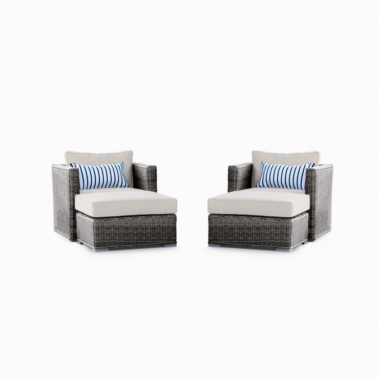 Lux Club Chair Conversation Set with 2 Ottomans, All-Weather Wicker with Sunbrella Cushions