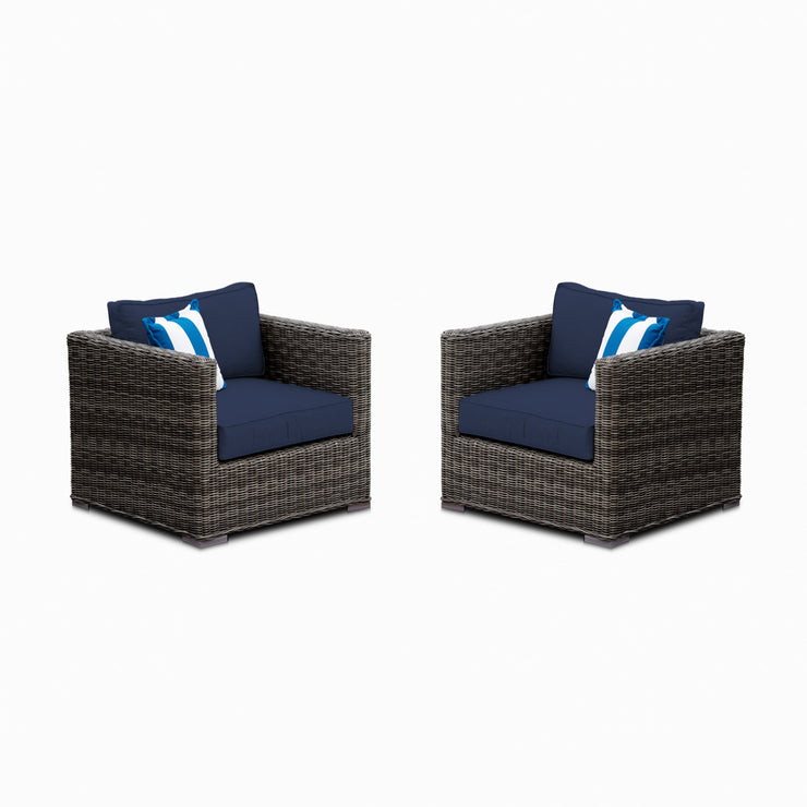 Lux Club Chair Conversation Set, All-Weather Wicker with Sunbrella Cushions