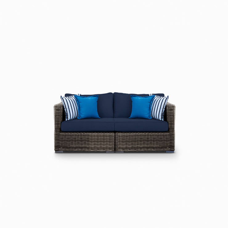 Lux Loveseat Sofa, All-Weather Wicker with Sunbrella Cushions