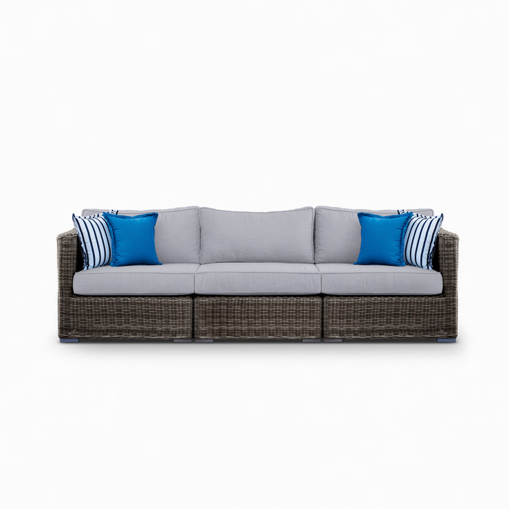 Lux 3-Seat Sofa, All-Weather Wicker with Sunbrella Cushions