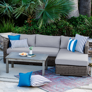 Lux Chaise Sectional, All-Weather Wicker with Sunbrella Cushions