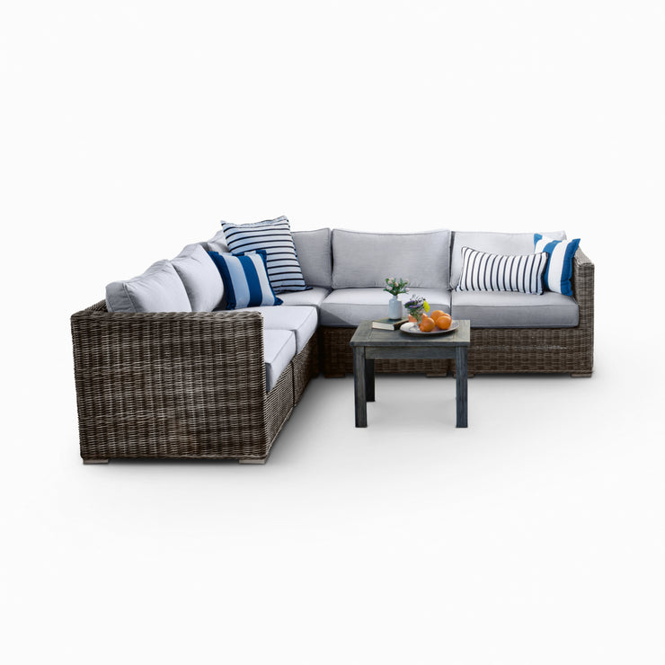 Lux 5-Piece Sectional, All-Weather Wicker with Sunbrella Cushions