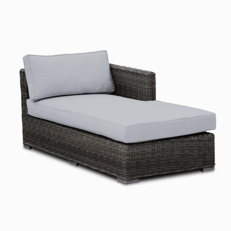 Lux Chaise Sofa, All-Weather Wicker with Sunbrella Cushions