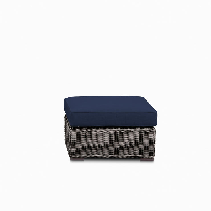 Lux Ottoman, All-Weather Wicker with Sunbrella Cushions