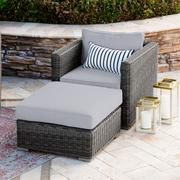 Lux Club Chair Conversation Set with Ottoman, All-Weather Wicker with Sunbrella Cushions