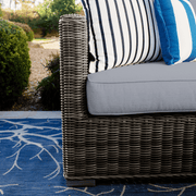 Lux Club Chair with Ottoman, All-Weather Wicker with Sunbrella Cushions