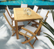 7 Piece Teak Dining Set with Folding Dining Chair