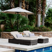 Ajna Reclining Chaise Lounge, All-Weather Wicker with Sunbrella Cushions