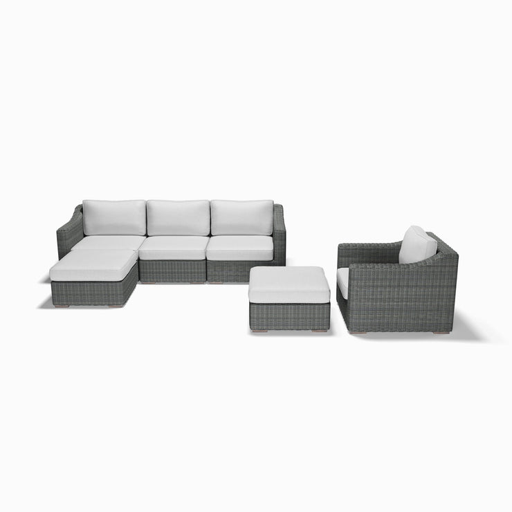 6-Piece Chaise, Club Chair, and Ottoman Set (Sloped Arms)