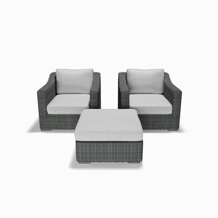 3-Piece Club Chair and Ottoman Set (Sloped Arms)