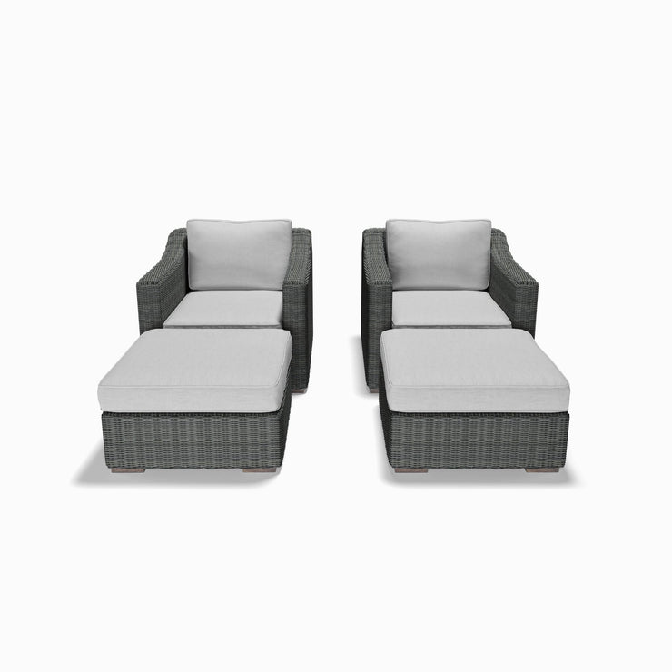 4-Piece Club Chair and Ottoman Set  (Sloped Arms)