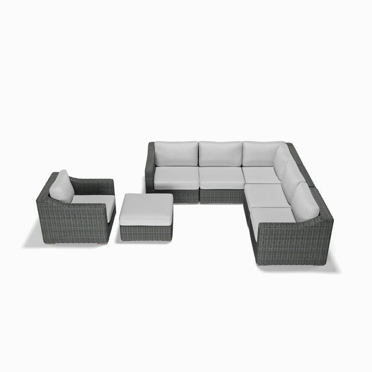 7-Piece Corner Sectional, Club Chair, and Ottoman Set (Sloped Arms)