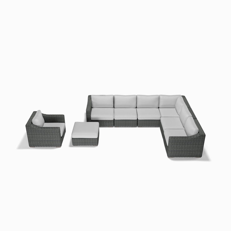 8-Piece Corner Sectional, Club Chair, and Ottoman Set (Sloped Arms)