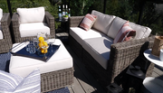 Lux 10-Piece Set, All-Weather Wicker with Sunbrella Cushions