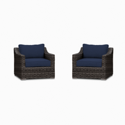 Villa Club Chair Conversation Set, All-Weather Wicker with Sunbrella Cushions