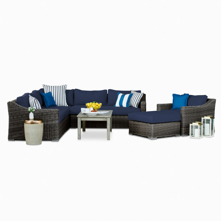 Villa 5-Piece Set, All-Weather Wicker with Sunbrella Cushions
