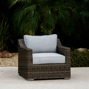 Villa Club Chair Conversation Set with 2 Ottomans, All-Weather Wicker with Sunbrella Cushions