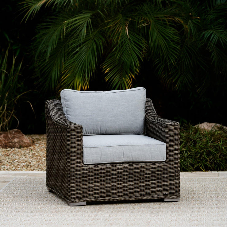 Villa Club Chair with Ottoman, All-Weather Wicker with Sunbrella Cushions