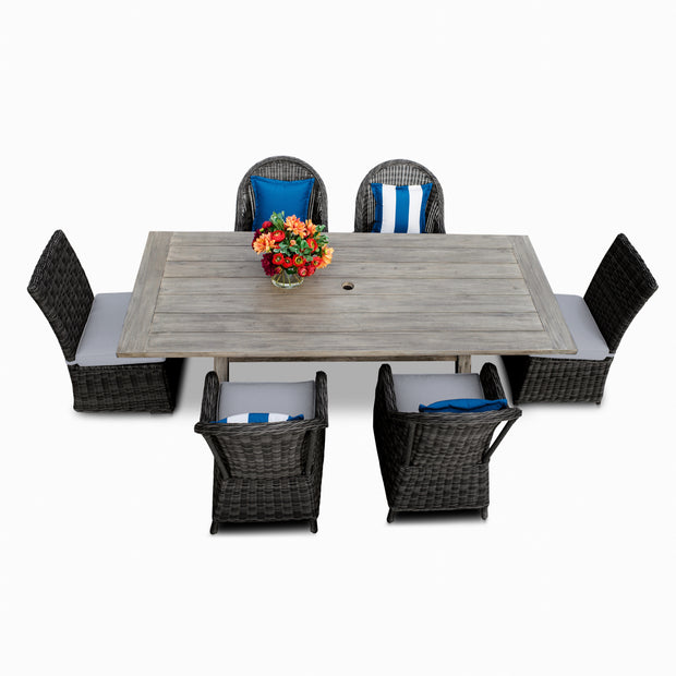 Villa 7-Piece Dining Set, All-Weather Wicker with Sunbrella Cushions