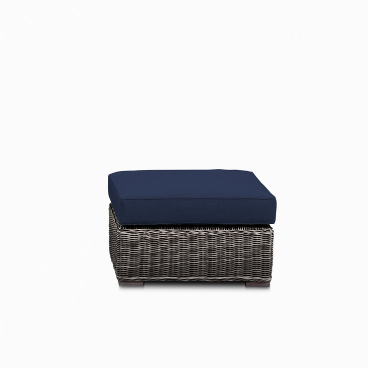 Villa Ottoman, All-Weather Wicker with Sunbrella Cushions