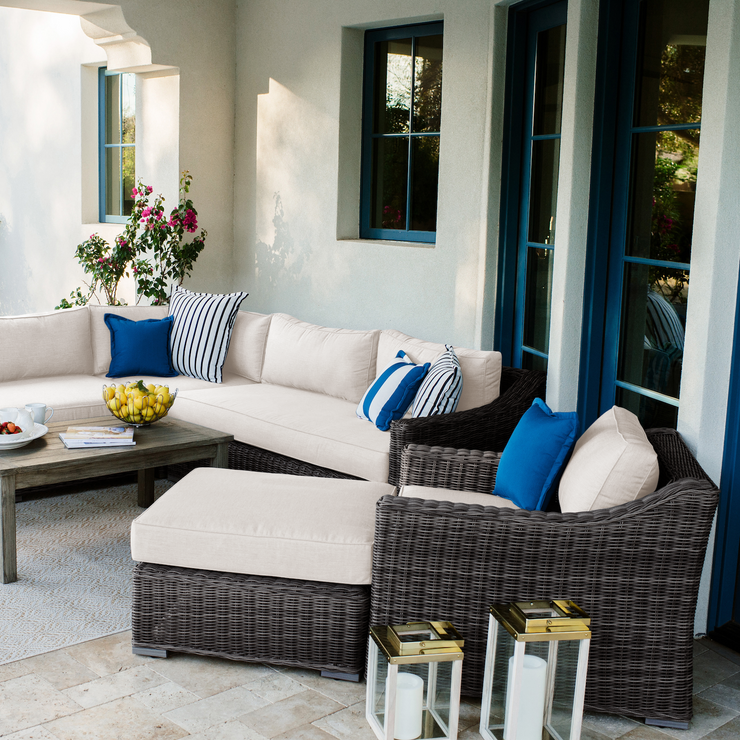 Villa Club Chair Conversation Set with Ottoman, All-Weather Wicker with Sunbrella Cushions